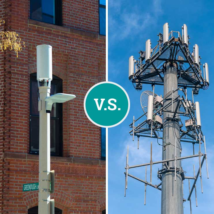Filter Page Image: Small Cell antenna versus a macro cell tower