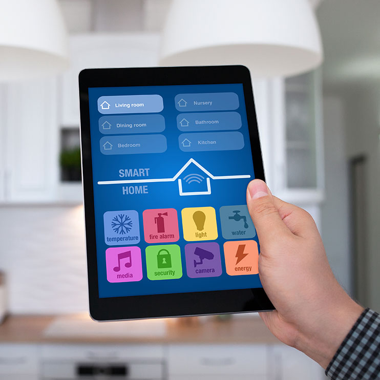 Filter Page Image: tablet with smart home applications