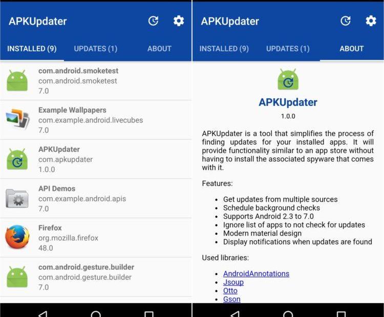 APKUpdater: Mantiene al día tus aplicaciones Android sin usar tiendas
