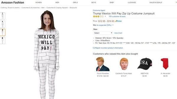 """Pidieron a Amazon retirar un """"disfraz de muro"""" con la leyenda """"México pagará"""""""