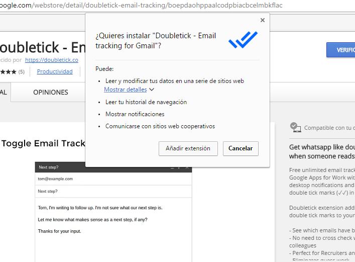 Doubletick: Acuse de correo recibido para Gmail