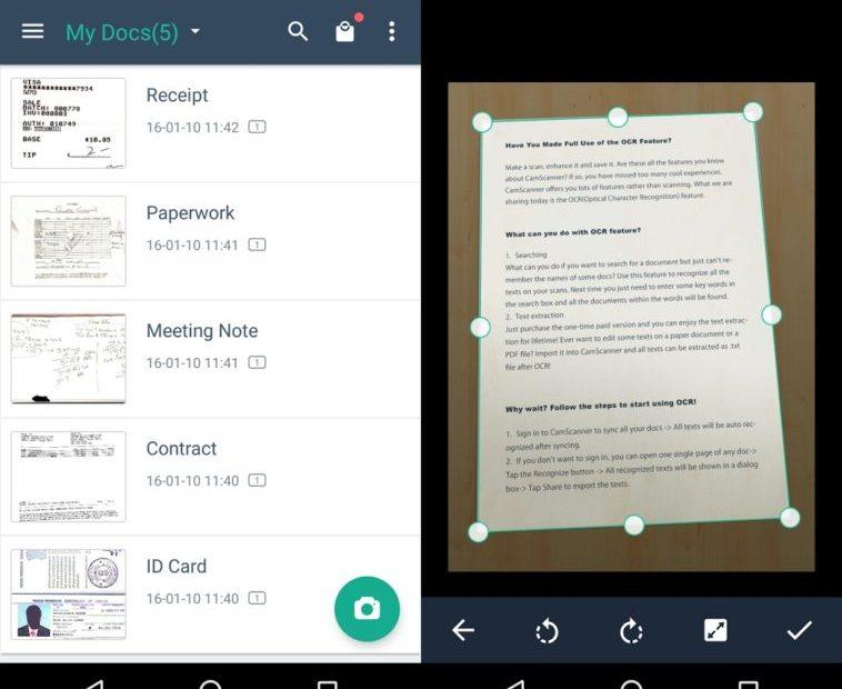 CamScanner: Escanea un documento con tu teléfono directo a PDF