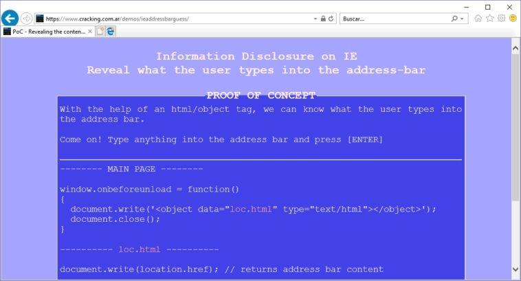 Internet Explorer filtra todo lo que escribes en la barra de direcciones