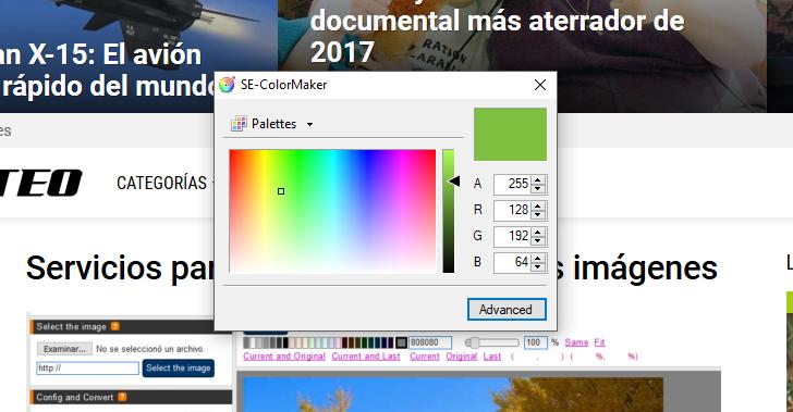 Programa para extraer valores hexadecimales y RGB de una imagen