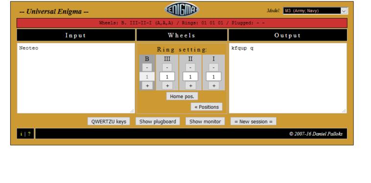 Simuladores Web de máquina Enigma