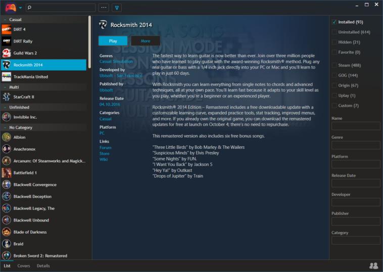 Playnite: Ordena tus juegos de Steam, GOG, Origin y Uplay en un solo lugar