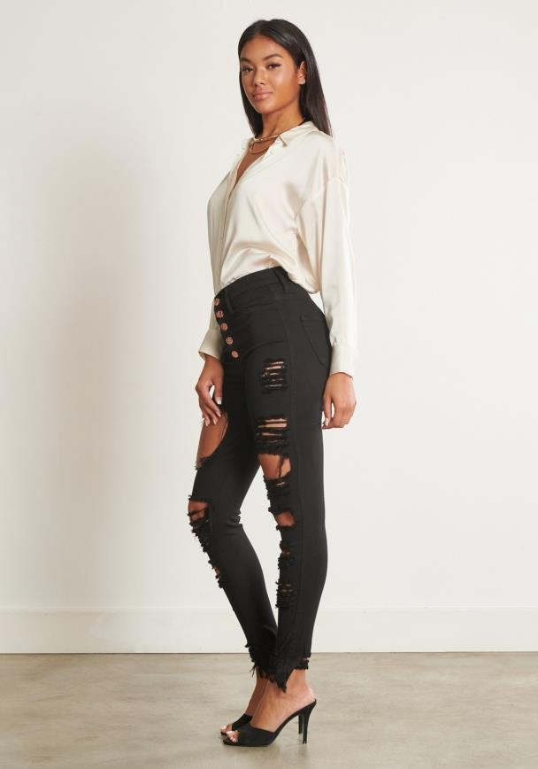 Button Up Distressed Jeans