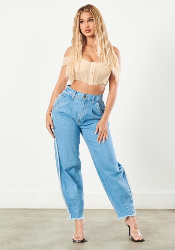 Detailed Outseam Slouch Jeans