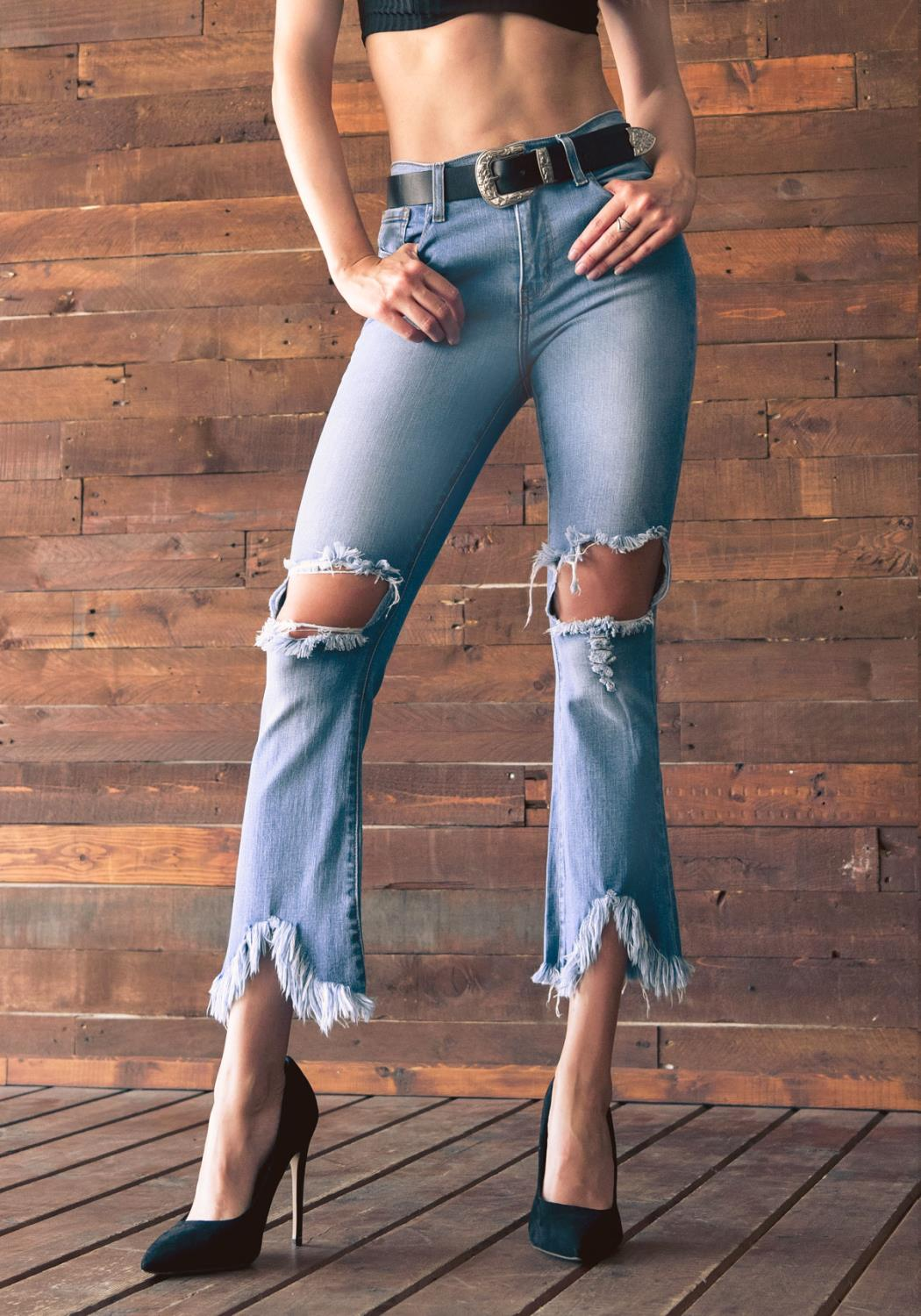 Playful Crop Flare Jeans