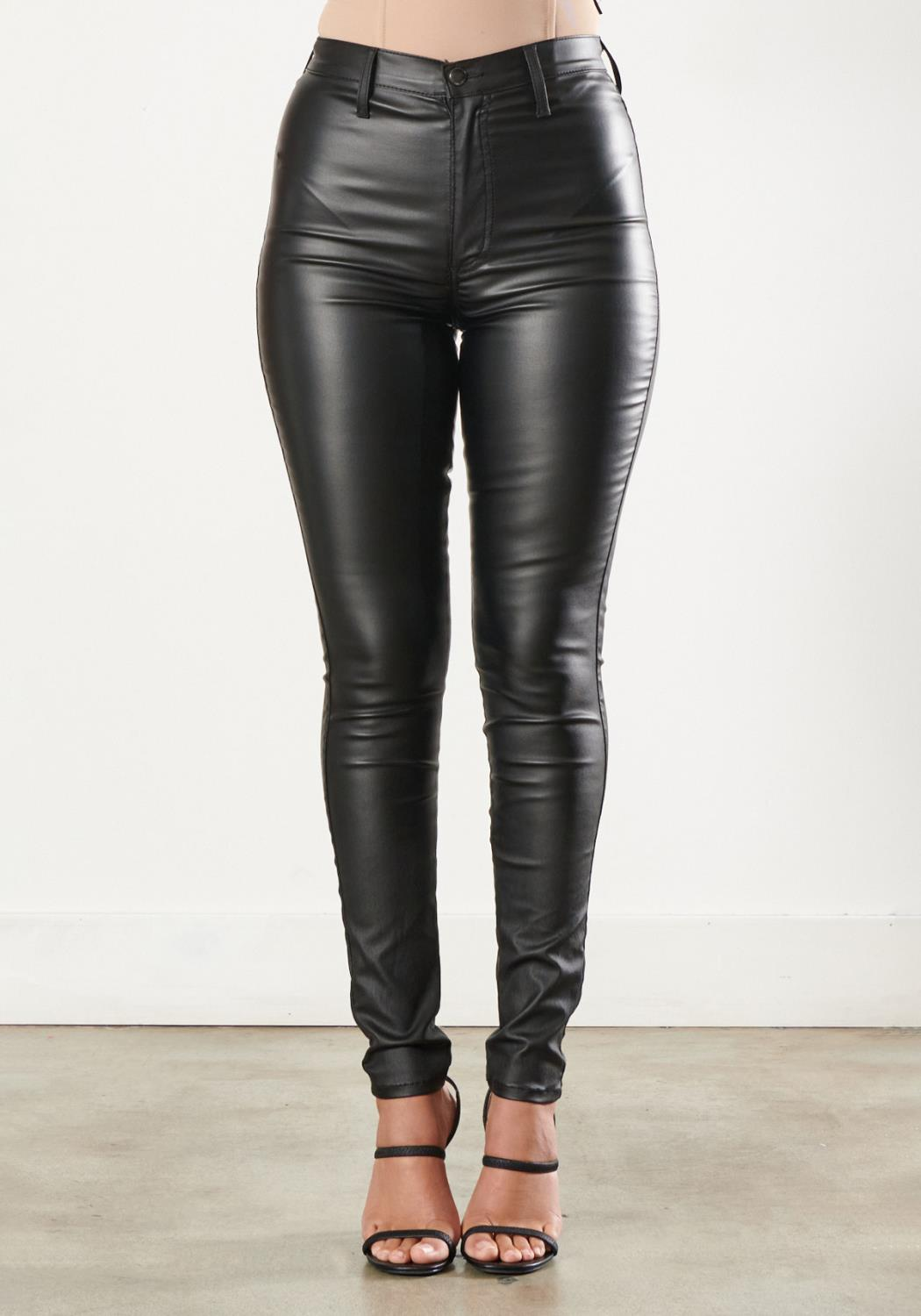 Super High-Rise Coated Black Jeans