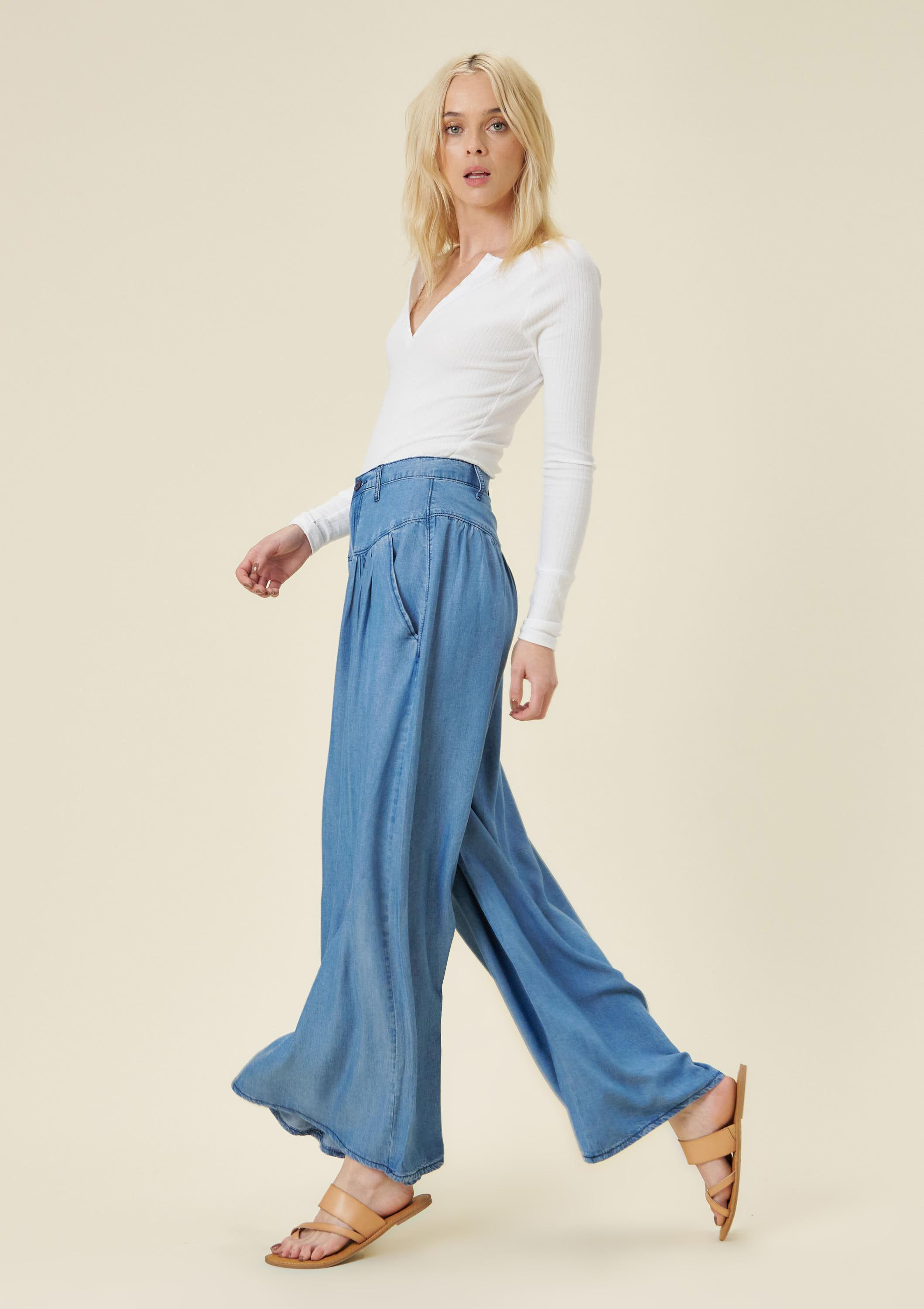 Darcy Wide-leg Chambray Pants