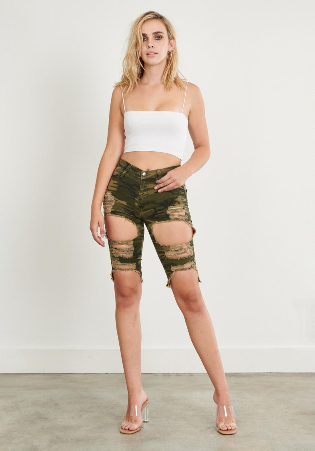 Fern Distressed Bermuda Shorts