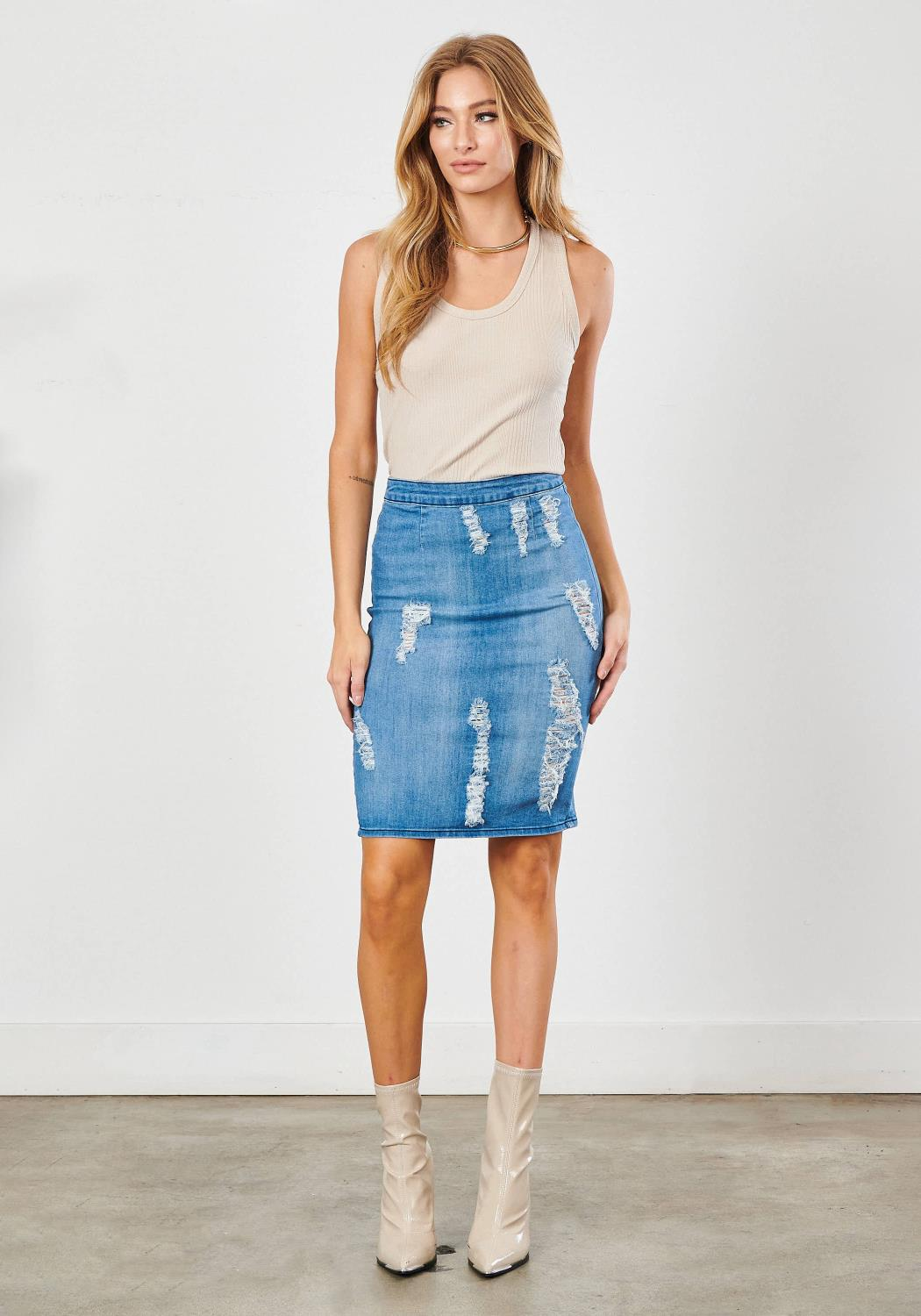 Angelique Denim Pencil Skirt