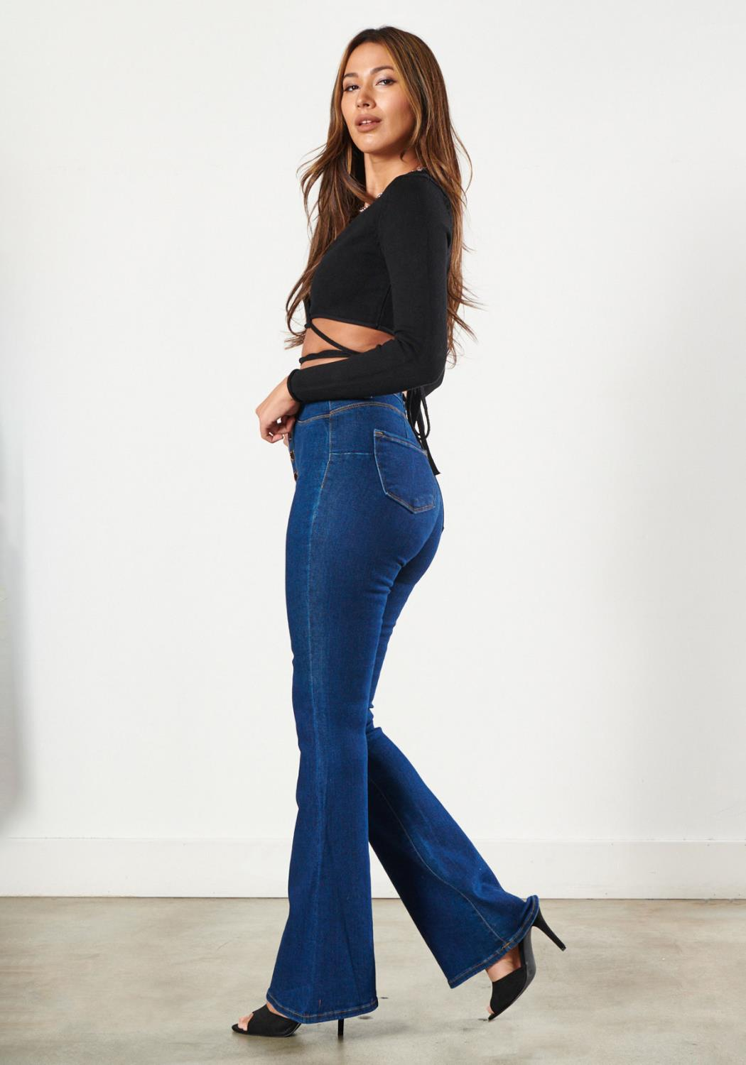 Tall Bell Flare Button-Up Jeans