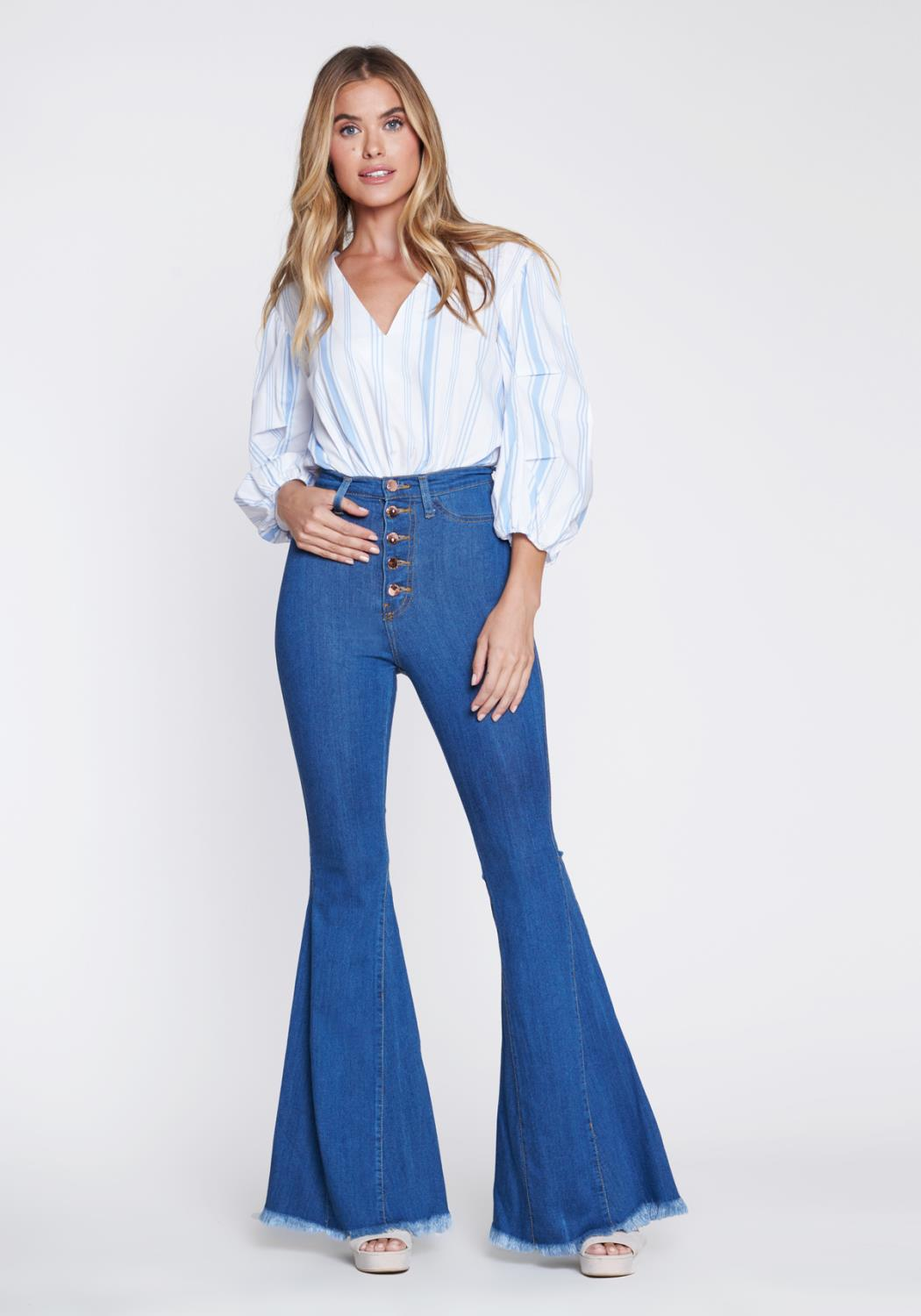 High Tide Button Up Flare Jeans