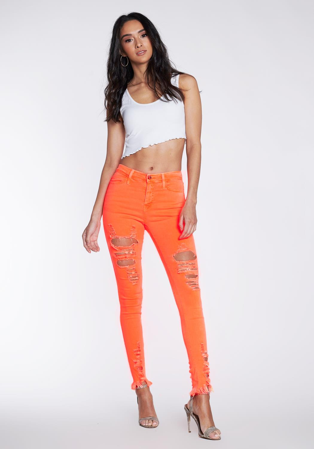 Neon Distressed Skinny Jeans