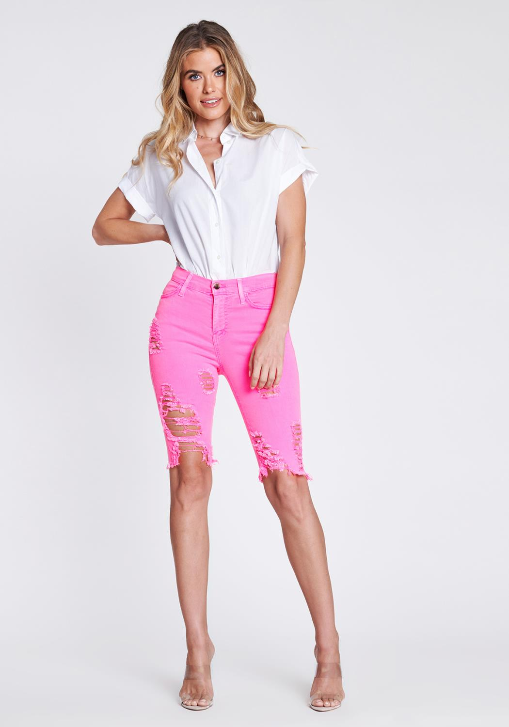 Distressed Neon Longline Shorts