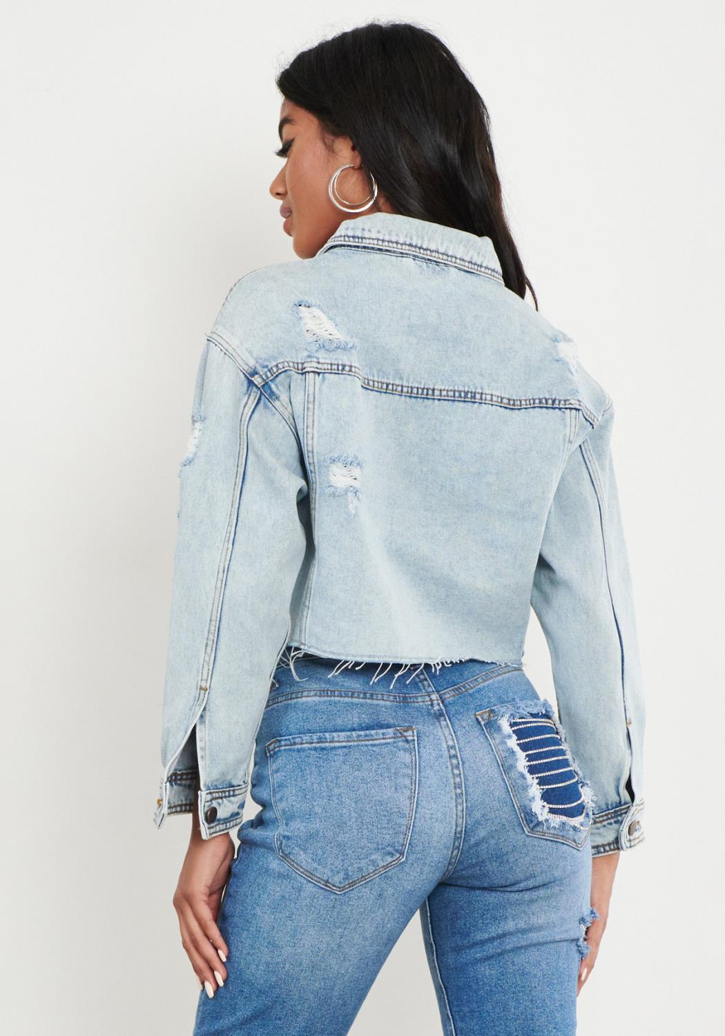 Distressed Cropped Denim Jacket