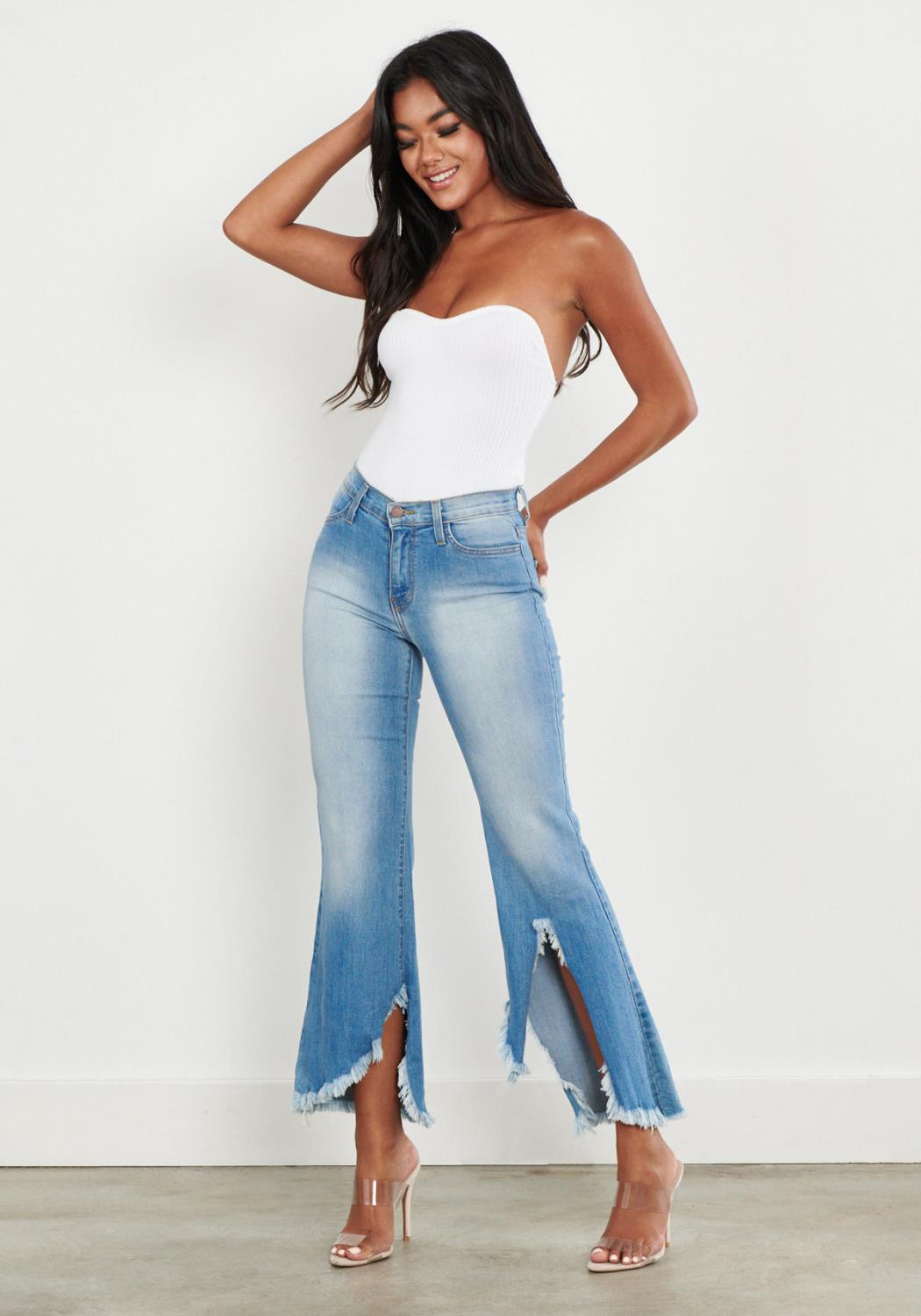 Frayed Asymmetrical Flare Jeans