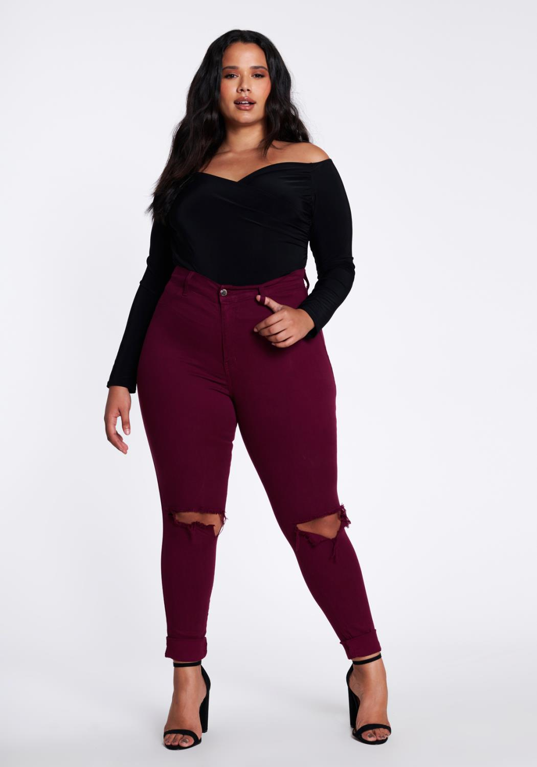 PLUS Heather Skinny Jeans