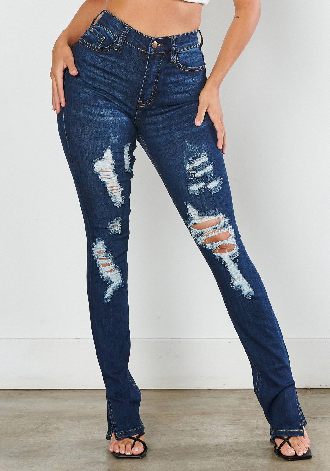 Distressed Side Slit Bootcut Jeans