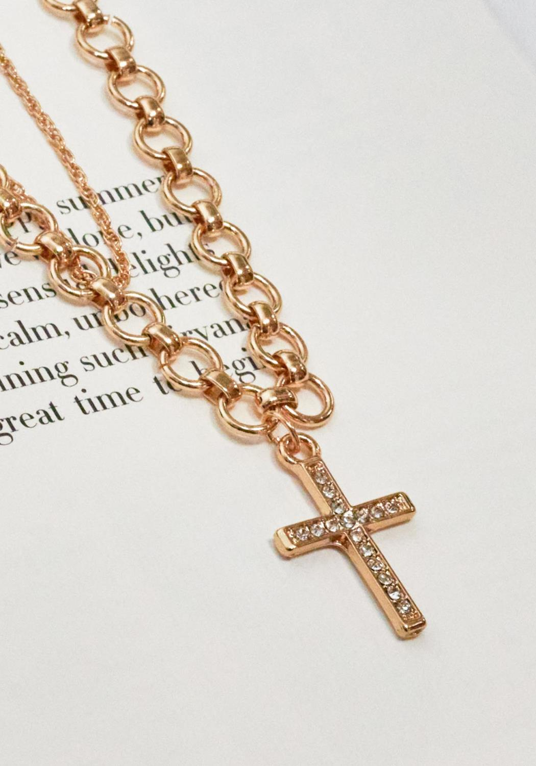 Double Gold Chain Necklace with Cross Pendant