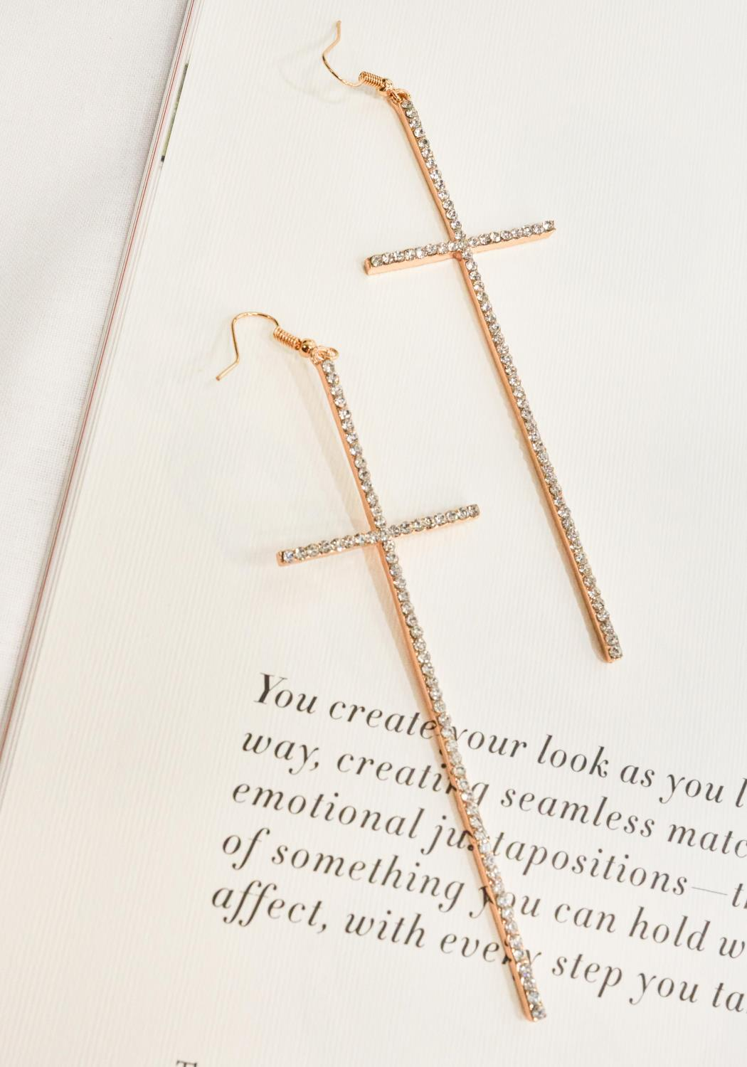 Gold Cross Crystal Earrings