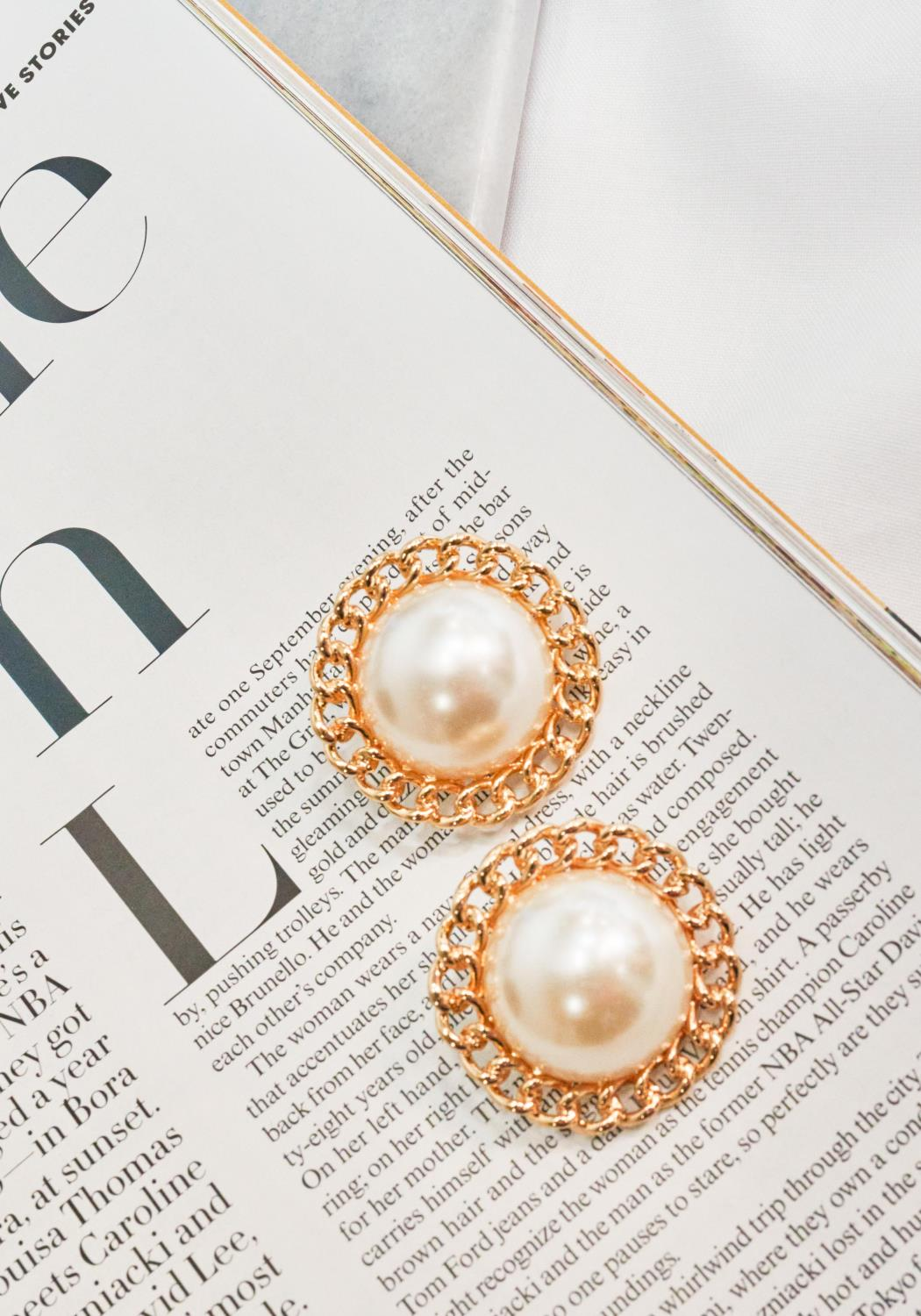 Big Pearl Flower Earrings