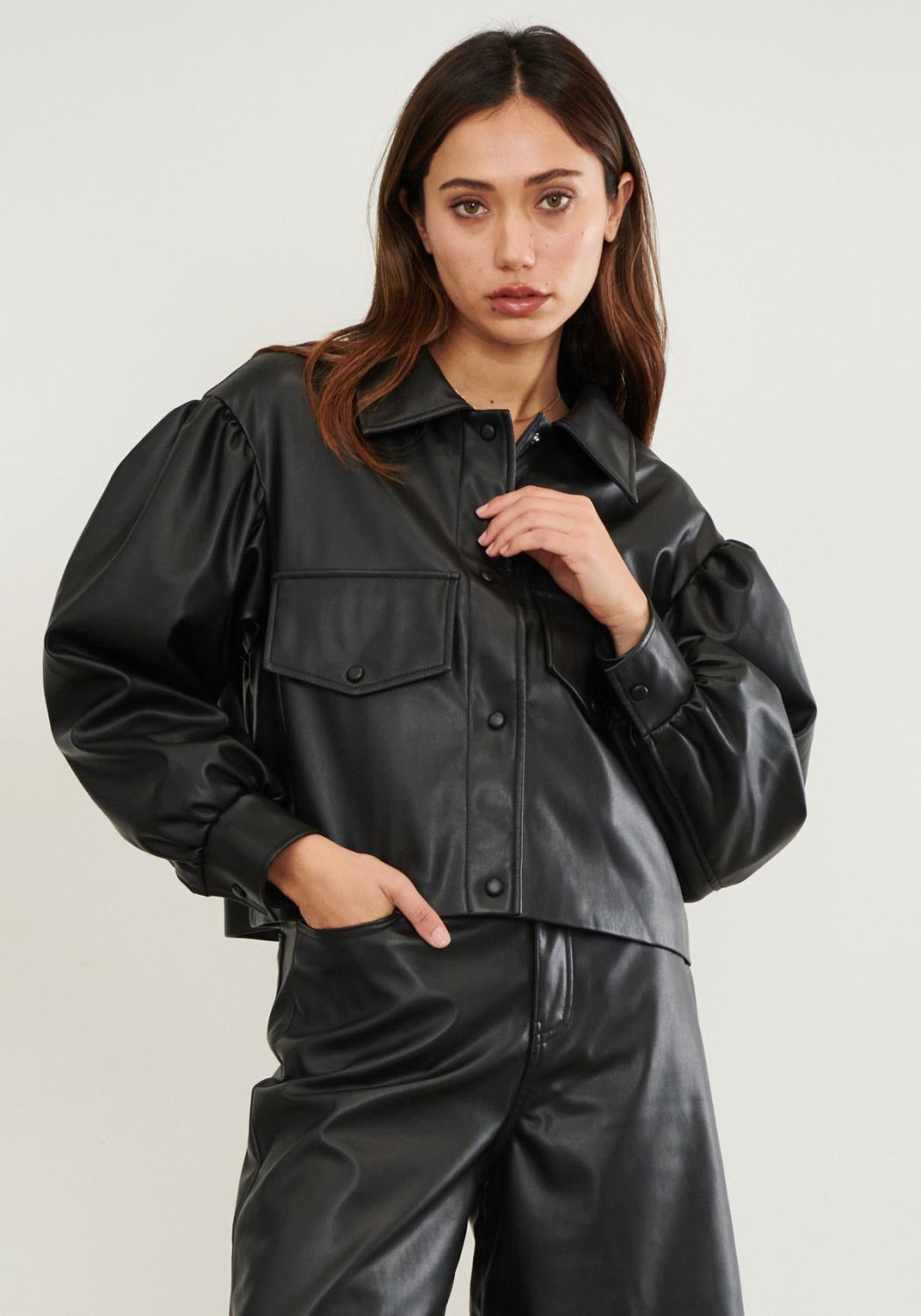 PU Puff Shoulder Jacket
