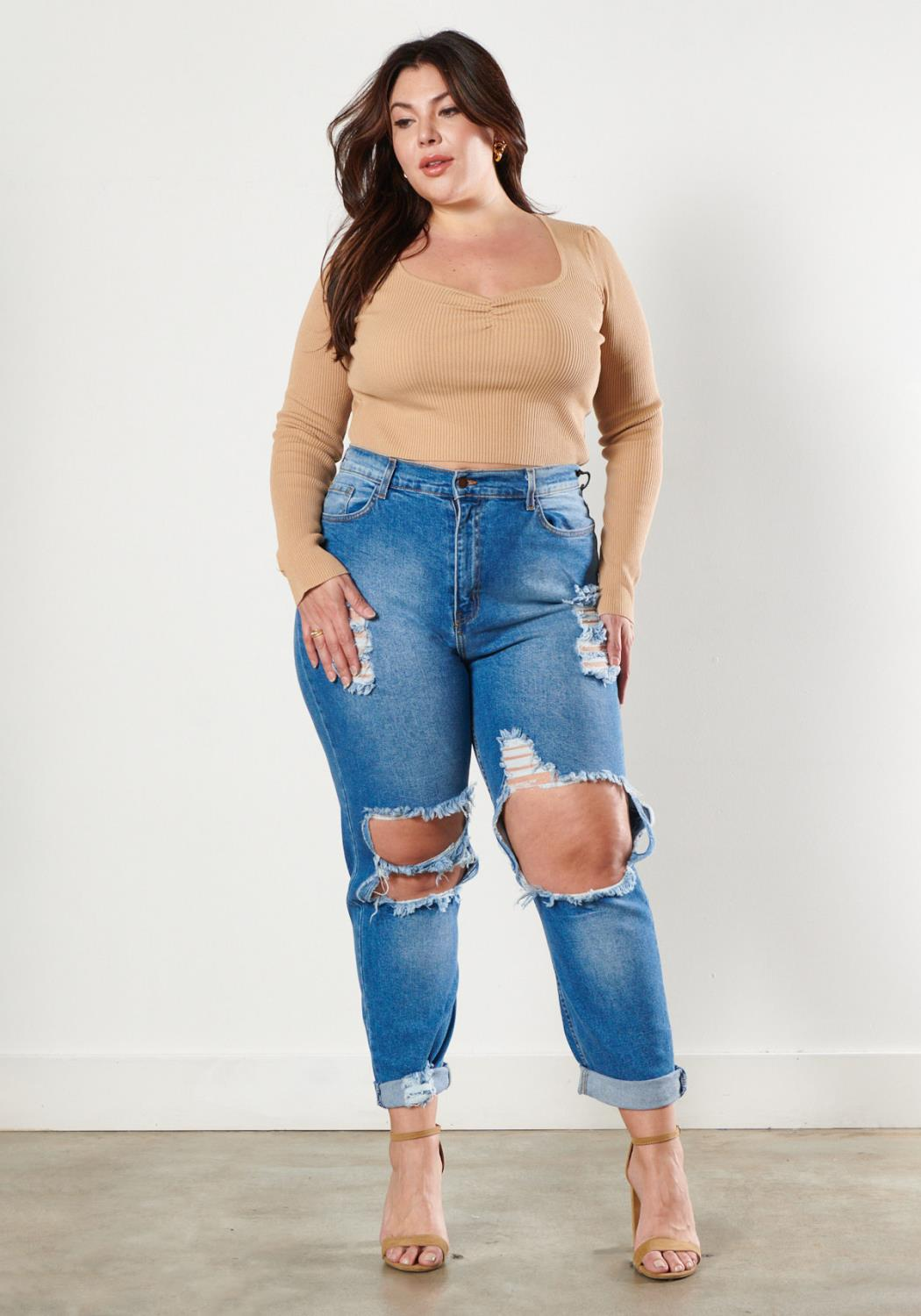 PLUS Distressed Vintage Tint Mom Jeans