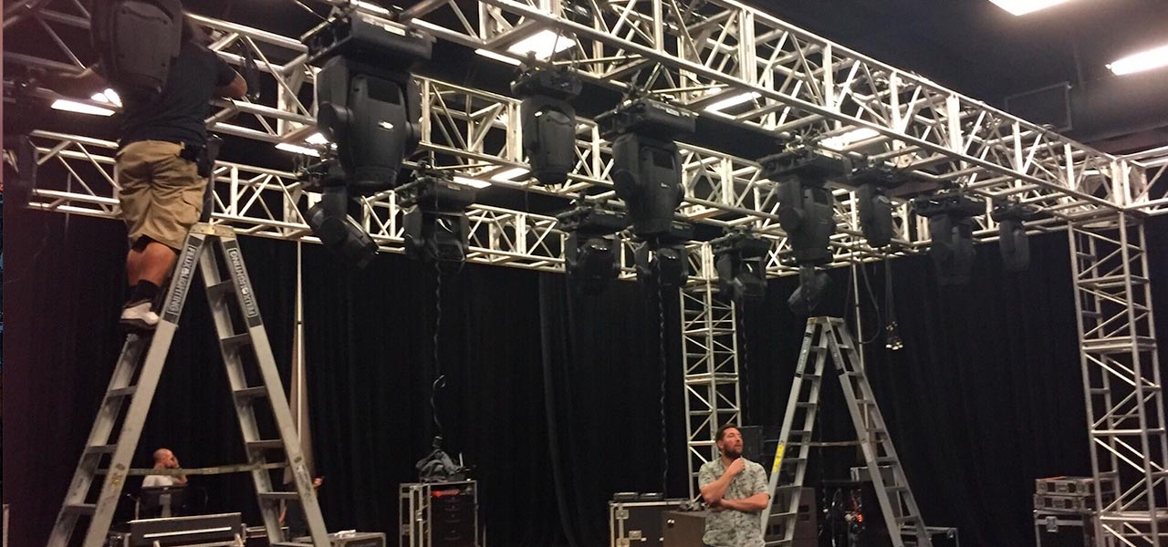 Setting Up - We took a blank space and transformed it into a stage worthy of the iconic band