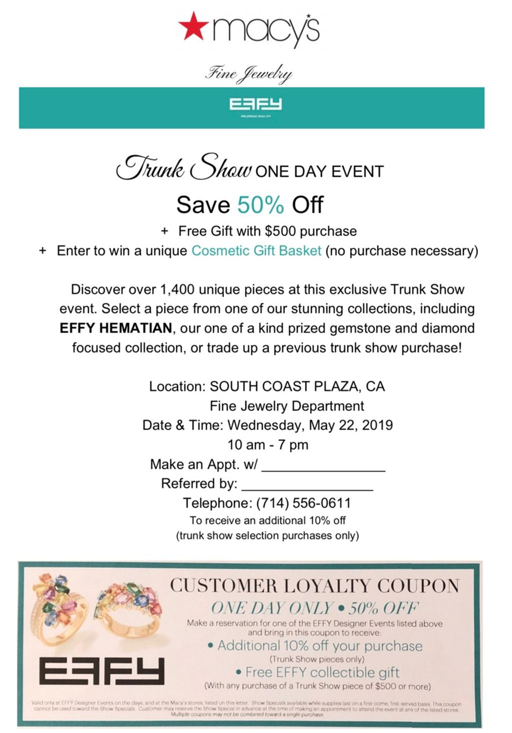 Come check out our Effy Trunk show - Macys Style Crew