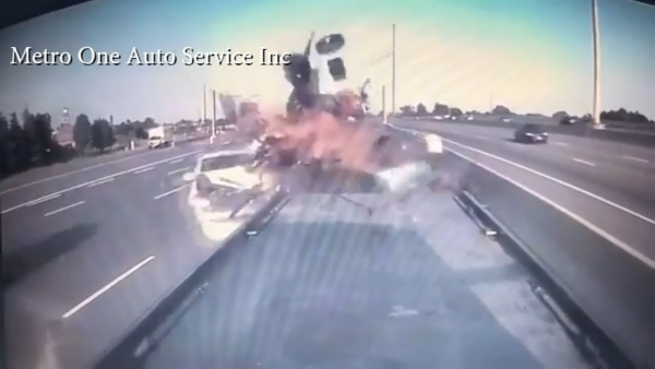 Heart stopping crash caught on video in Toronto