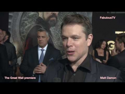 Matt Damon tonight at 'THE GREAT WALL' premiere talked about working on such a huge production