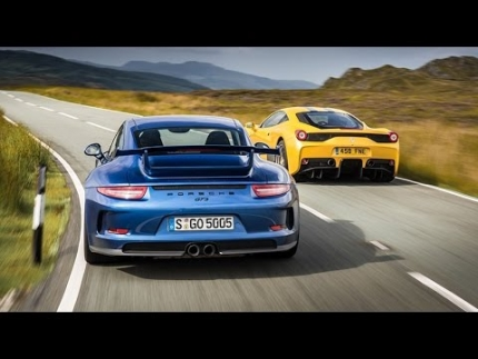 Ferrari 458 Speciale vs Porsche 911 GT3 (2014) twin test review