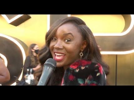 Saycon Sengbloh sings at the 'RESPECT' black carpet premiere