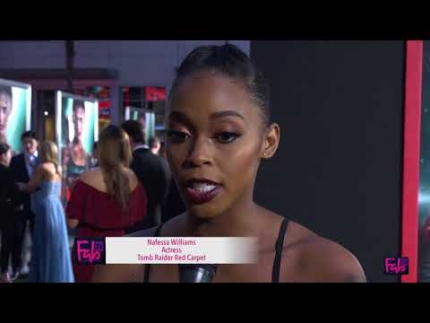 Nafessa Willams at 'TOMB RAIDER' red carpet