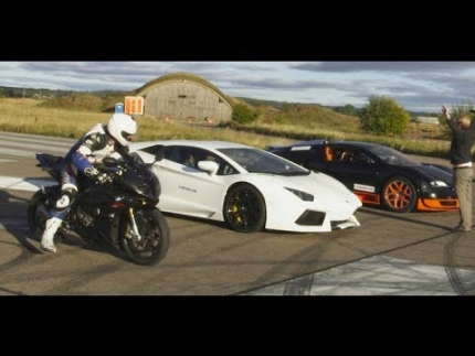Ultra HD 4K Drag RACE Bugatti Veyron Vitesse vs Lambo Aventador vs BMW S1000RR- presented by Samsung