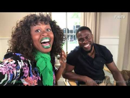 """Kevin Hart with GloZell on the set of """"Fatherhood"""""""