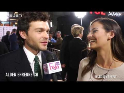 Alden Ehrenreich on the red carpet of  'Rules Don't Apply'  on FabulousTV