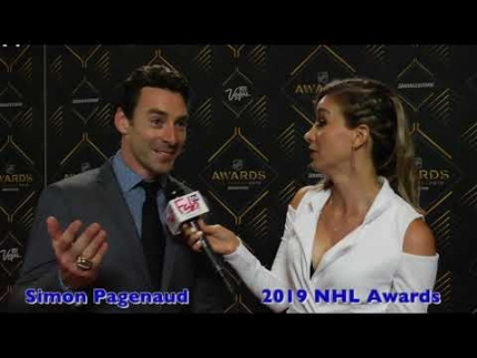 Simon Pagenaud  arrives at the 2019  NHL Awards Trophy red carpet