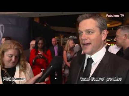 Matt Damon at his JASON BOURNE premiere on Fabulous TV