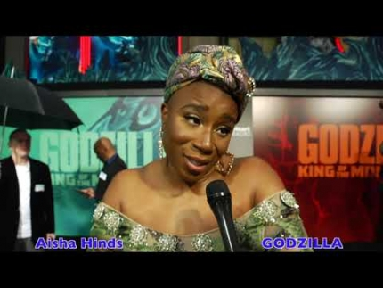 Aisha Hinds arrives at the Godzilla:  King of the Monsters