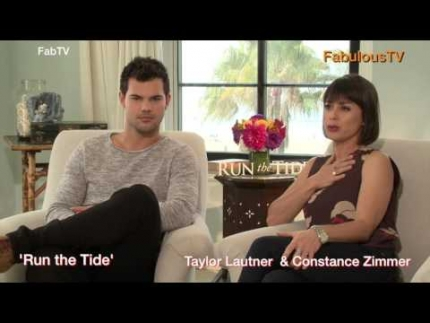 "Taylor Lautner & Constance Zimmer discuss ""Run the Tide"""