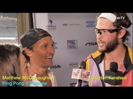 Matthew McConaughey teams w Clayton Kershaw for 6th Annual Ping Pong for a Purpose