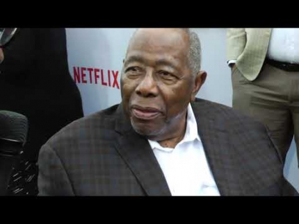 "Hank Aaron arrives at ""The BLACK GODFATHER"" premiere"