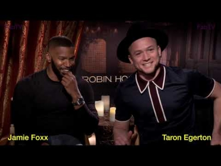 "Jamie Foxx & Taron Egerton discuss California fires at ""Robin Hood"" press day"