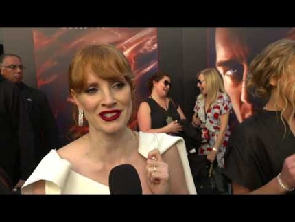 "Jessica Chastain talks at the  ""Dark Phoenix""  premiere"