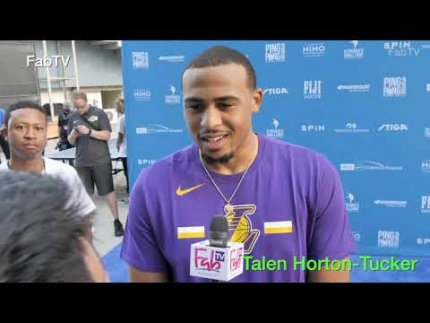 "Laker player 'Talen-Horton Tucker'  at  ""Kershaw's  'Ping Pong 4Purpose"" 2019'"
