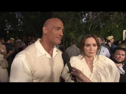 """Dwayne """"The Rock"""" Johnson and Emily Blunt arrive at the..."""
